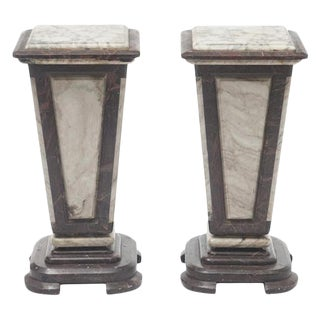Pair Neoclassical Style Variegated Marble Pedestals For Sale