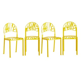 Set of 4 Bright Yellow Hello There Chairs by Artifort Circa 1970s
