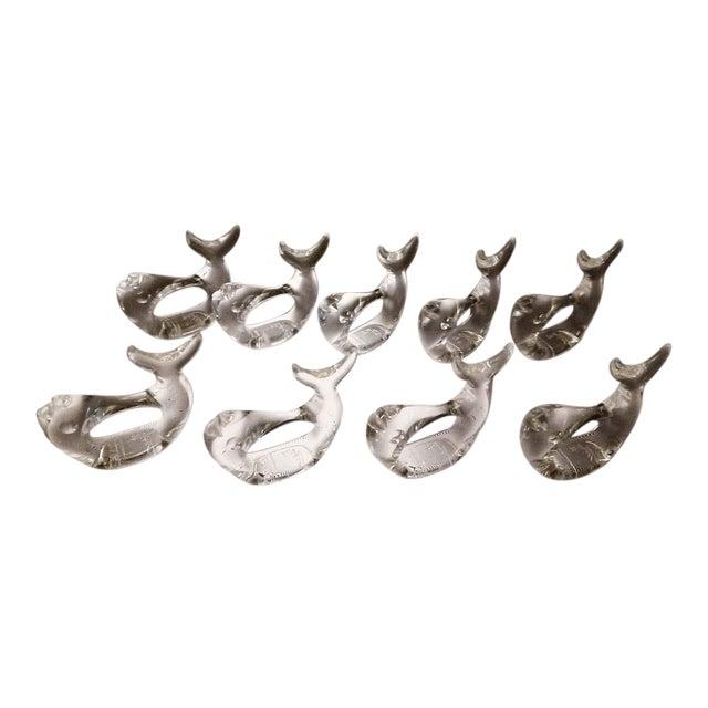 Bijan Lucite Fish Napkin Rings - Set of 9 For Sale