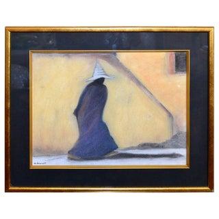 Original Mid-Century Modern Signed Golden Framed Fine Art by Artist M. Aronoff For Sale