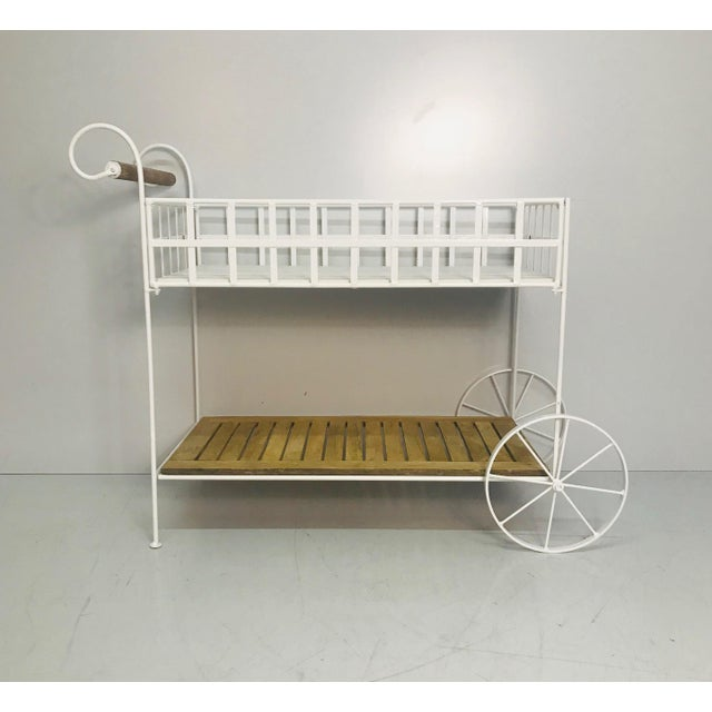 Shabby Chic Vintage White Metal With Teak & Stone Bar Cart For Sale - Image 3 of 8