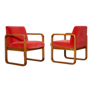 1970s Mid-Century Modern Crimson Mohair Accent Chairs - a Pair For Sale