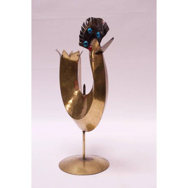 Vintage Brutalist Torch-Cut Mixed Metal Bird Sculpture For Sale - Image 4 of 13
