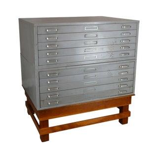 Vintage Industrial Metal & Wood Large Flat File Architect, Blue Print, Art Map Cabinet For Sale