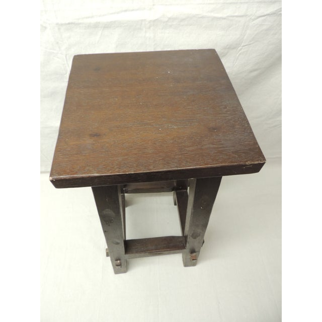 Vintage Arts and Crafts Tall Wood Pedestal - Image 4 of 5
