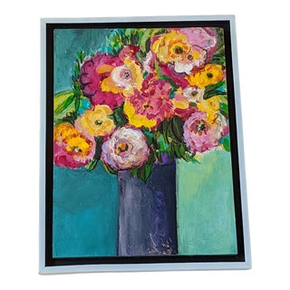 """""""Flowers in a Purple Vase"""" Contemporary Still Life Painting, Framed For Sale"""