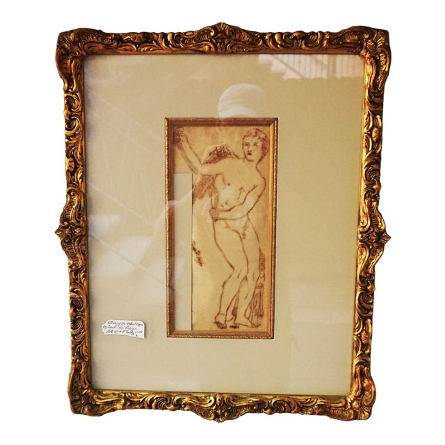 17th Century Antique Duca DI Frigia Infant Cupid Italian Pen and Ink Framed Drawing For Sale