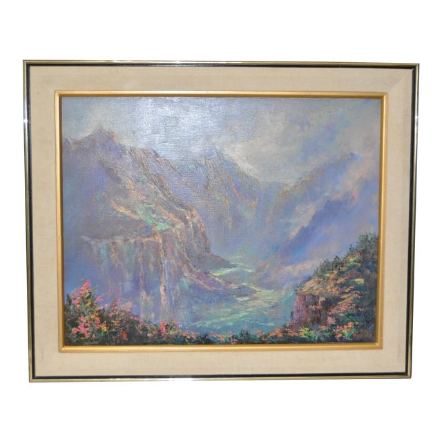 Ed Furuike Oil Painting - Waimea Canyon, Kauai - Hawaii For Sale
