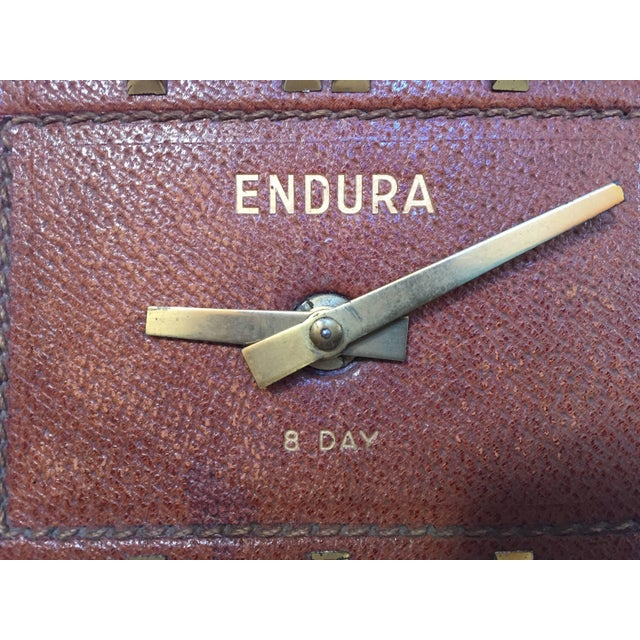 Leather and Brass Bauhaus French Endura Desk Clock Jacques Adnet Style For Sale - Image 10 of 12