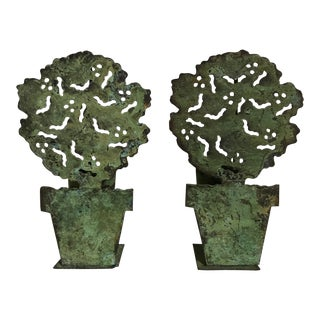 Tole Topiary Tea Light Holders - a Pair For Sale