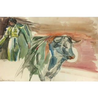 """1990s """"The Matador"""" Watercolor Bullfight Painting by Magdalena Reinharez For Sale"""