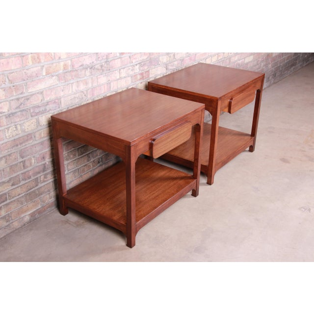 Edward Wormley for Drexel Precedent Mid-Century Modern Nightstands or End Tables, Newly Refinished For Sale In South Bend - Image 6 of 13