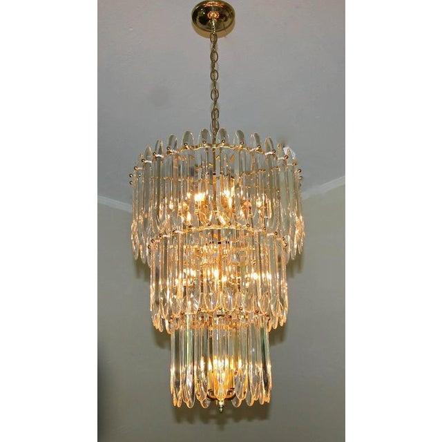 Art Deco Large Three-Tier Gaetano Sciolari Italian Crystal Chandelier For Sale - Image 3 of 11