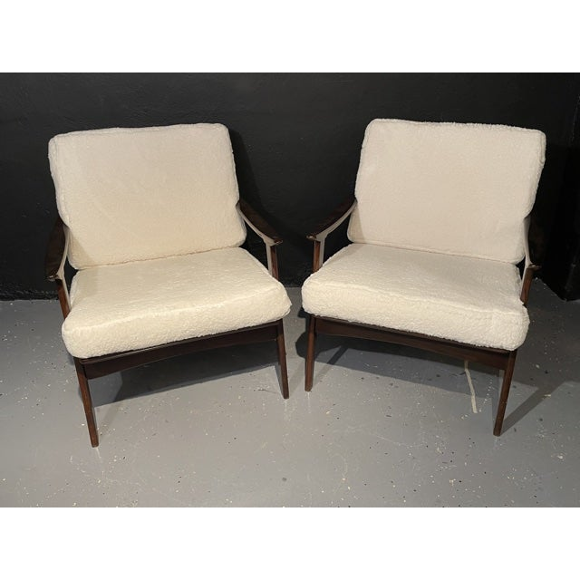 Pair of Mid-Century Modern Lounge Chairs/ Style of Ib Kofod-Larsen in Plush Sherpa fabric. Fine custom quality lounge or...