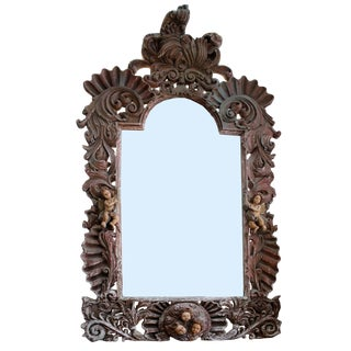Antique Wood Carved Mirror For Sale