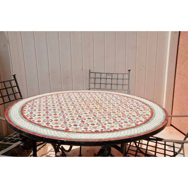 """Moroccan Zellij Red, Green, Yellow and White Mosaic Tile 52"""" Round Table & 4 Wrought Iron Arm Chairs For Sale - Image 12 of 13"""