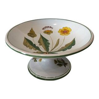 "Vintage Deruta Italian Pottery Pedestal Bowl With Dandelions ""Dente Di Leone"" For Sale"