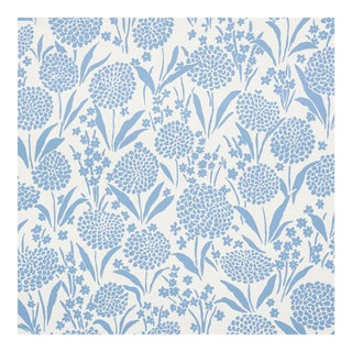 Sample - Schumacher Chrysanthemum Wallpaper in Chambray For Sale