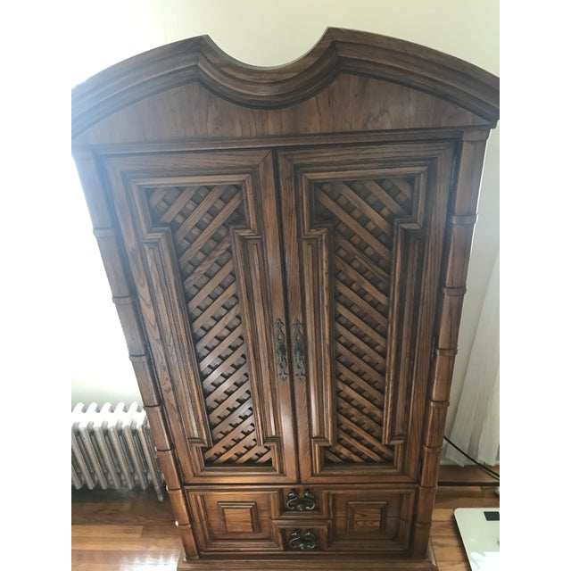 Brown Vintage Thomasville Oak Armoire For Sale - Image 8 of 8