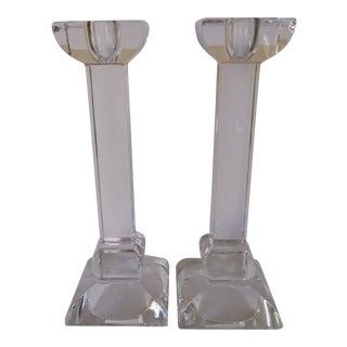 Villeroy & Boch Crystal Candlesticks - a Pair For Sale