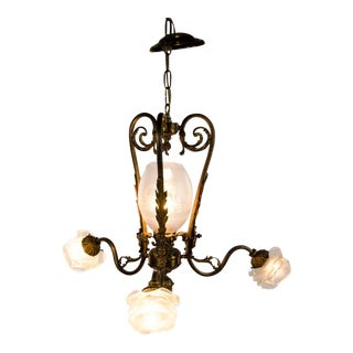 Victorian Style Four Light Brass and Glass Chandelier For Sale
