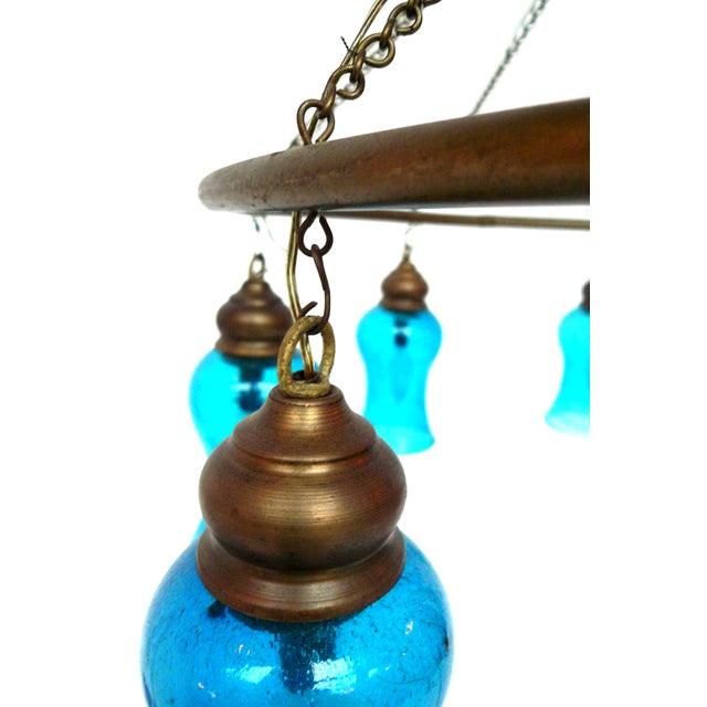 Handblown Blue Glass Chandelier - Image 3 of 5