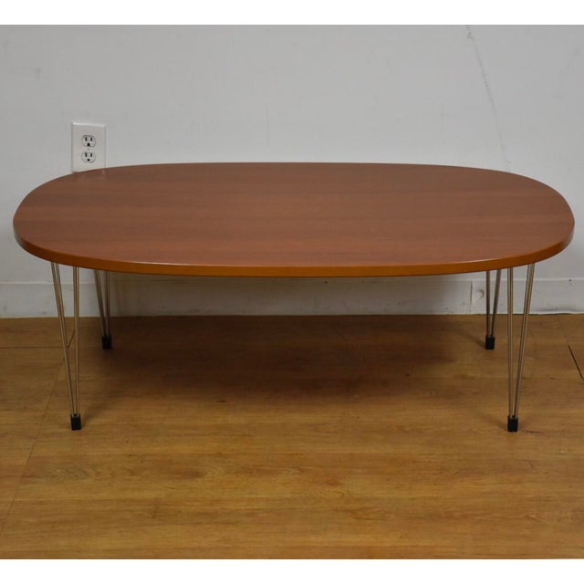 Cherry and Chrome Oval Coffee Table For Sale - Image 9 of 9