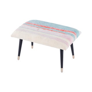 Pasargad Home Bosphorus Collection Soft Pink & Blue Kilim Cover Ottoman For Sale