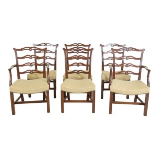 Virginia Craftsmen Ribbon Back Mahogany Dining Room Chairs - Set of 6 For Sale