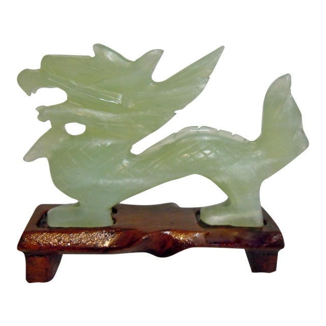 Chinese Bowenite Hard Stone Carved Dragon on Stand For Sale