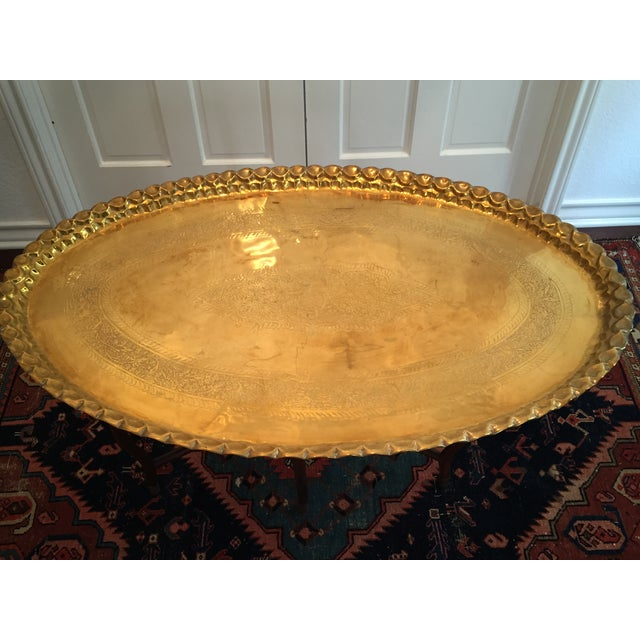 Large Oval MCM Brass Tray Coffee Table - Image 4 of 10