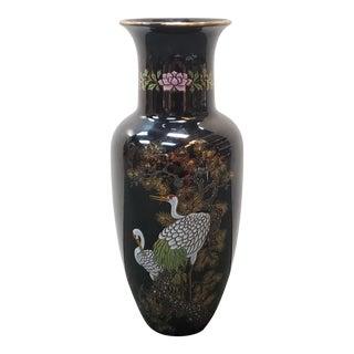 Vintage Circa 1970 Japanese Chokin Porcelain Red-Crowned Cranes Motif Baluster Vase For Sale