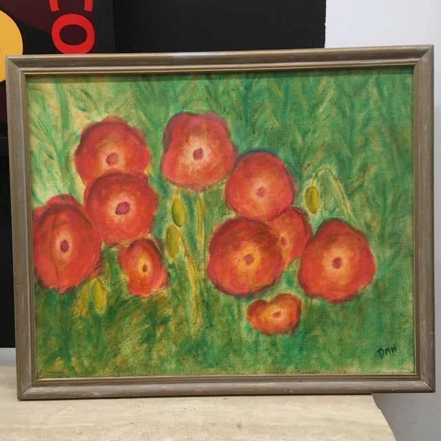 Green Vintage Poppies Painting on Canvas For Sale - Image 8 of 8