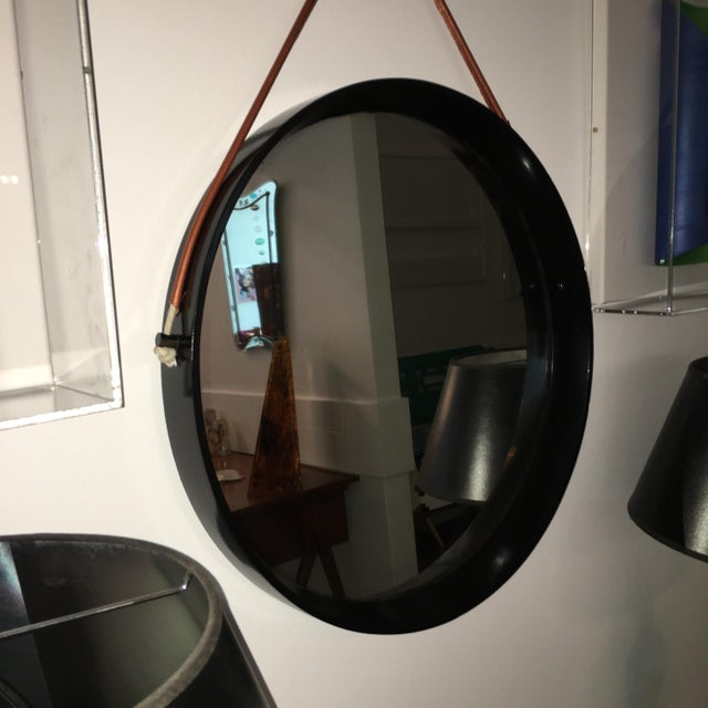 Mid Century Modern Jacques Adnet Style Black Lacquered Mirror with Copper Leather Strap - Image 5 of 8