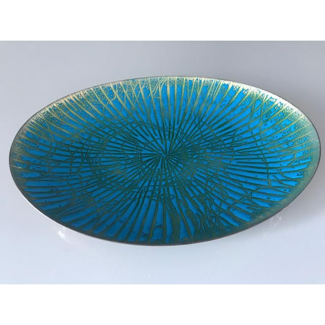 Abstract Mid Century Modern Enamel Over Copper Plate/Dish For Sale - Image 3 of 5