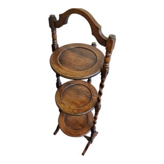 Antique English Oak Barley Twist Three Tier Folding Muffin Stand For Sale