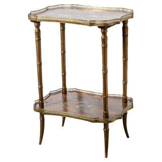 English Faux Bamboo Wood Hand Painted Brass Gallery Side Table C.1890 For Sale