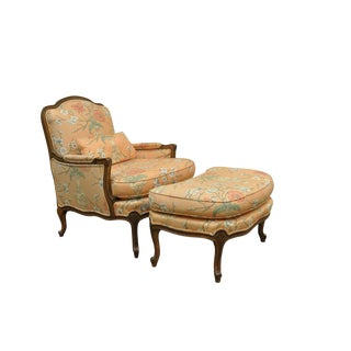 1950s French Provincial Louis XV Style Shell Carved Bergere Arm Chair and Ottoman For Sale