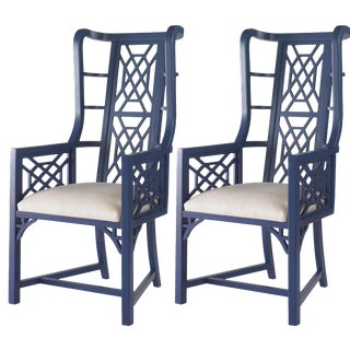 Taylor Burke Home Fretwork Accent Chairs - A Pair For Sale