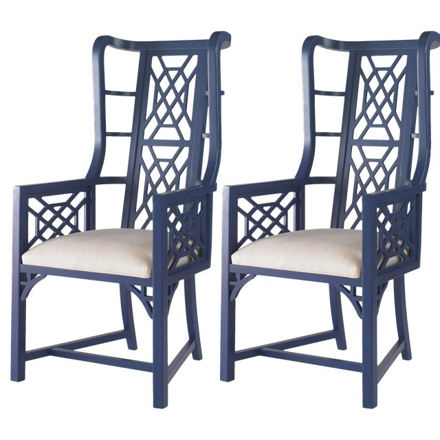 Taylor Burke Home Fretwork Accent Chairs - A Pair - Image 1 of 3
