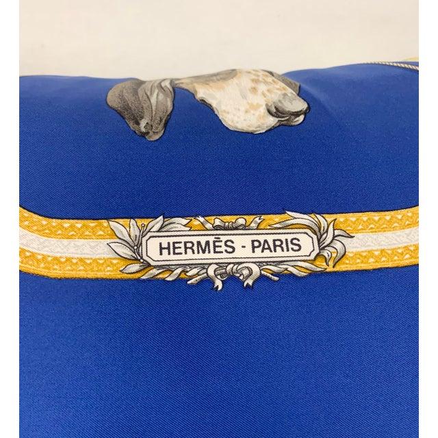 Hermès Paris Blue Silk Scarf Fox Hunt Pillow For Sale In New York - Image 6 of 8