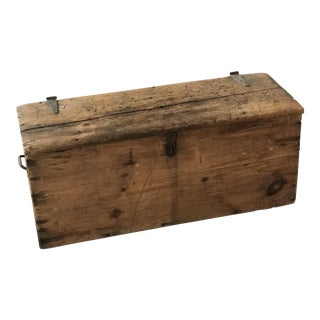 Antique Wood Trunk Blanket Chest For Sale