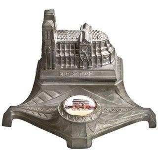 Vintage Cast Metal Notre Dame Inkwell