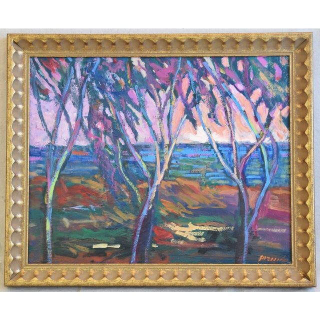 Pink Santa Barbara California Impressionist Landscape Seascape Painting by Juan Guzman For Sale - Image 8 of 9