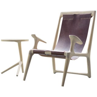 Contemporary White Ash and Brown Leather Sling Chair For Sale