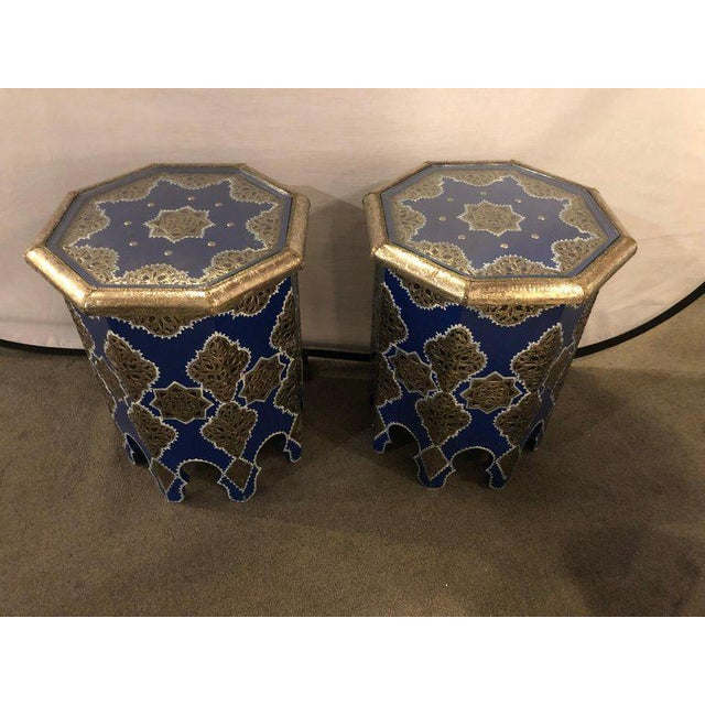 Moroccan Silver Metal Brass Inlaid Side Tables - a Pair For Sale - Image 13 of 13