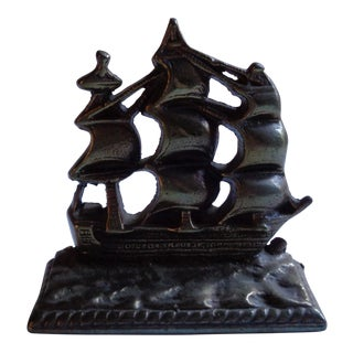 Vintage Brass Nautical Sailing Ship Bookend or Doorstop