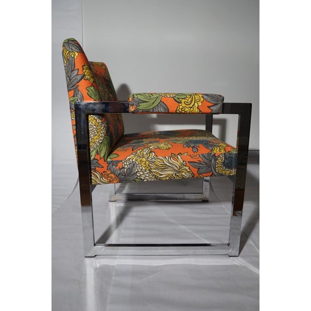 Milo Baughman Style Chrome Chair in Ming Dragon Fabric - Image 5 of 5