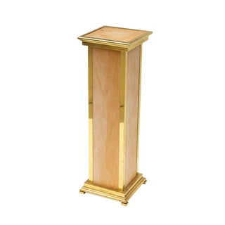 Italian Pedestal in Polished Brass and Natural Wood For Sale