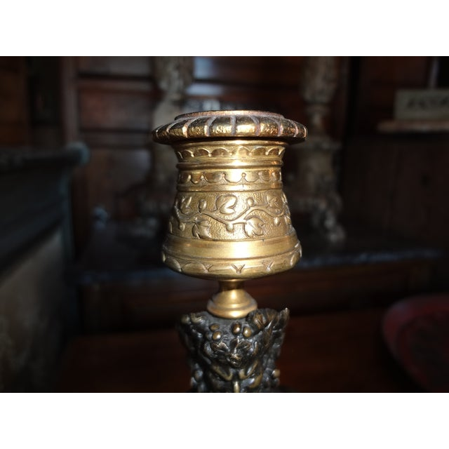 Gold Pair of Bronze Louis Kley Candle Holders For Sale - Image 8 of 10